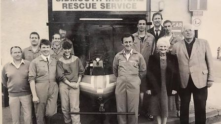 Members of the Sidmouth Inshore Rescue Service shortly after it formed. Al Philips (right of the lif