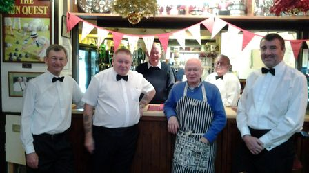 The Sidmouth indoor bowls section men served luncheon at the Lady Captain's Day and are shown in the