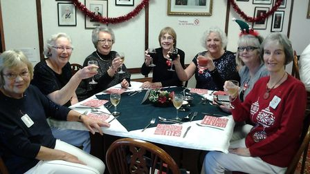 The Sidmouth indoor bowl section and some of the lady members enjoying a glass – or two – of win bef