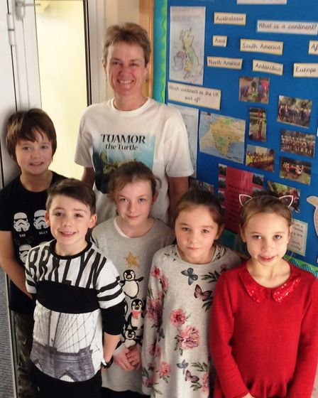 Author Jo Earlam visited Sidmouth Primary School, where pupils are using her book, Tuamor the Turtle