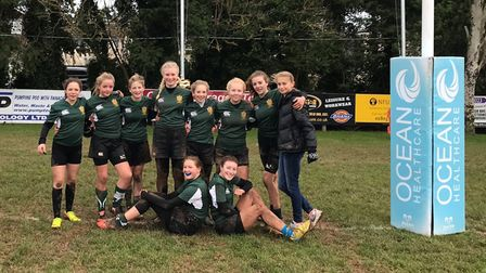 Sidmouth girl's Under-15 rugby team before their win over Brixham - Newton Abbot
