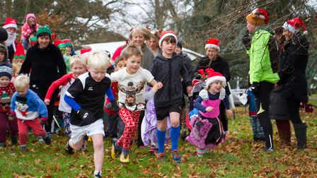 Sidmouth Primary School's Santa Stomp organised by the PTFA. Ref shs 50-17TI 4724. Picture: Terry If