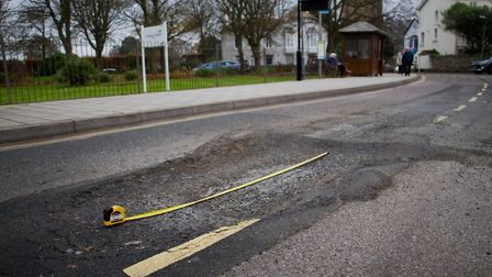 Pothole at Three Corner Plot in Sidmouth. Ref shs 47 17TI 3612. Picture: Terry Ife