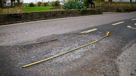 Pothole at Three Corner Plot in Sidmouth. Ref shs 47 17TI 3608. Picture: Terry Ife