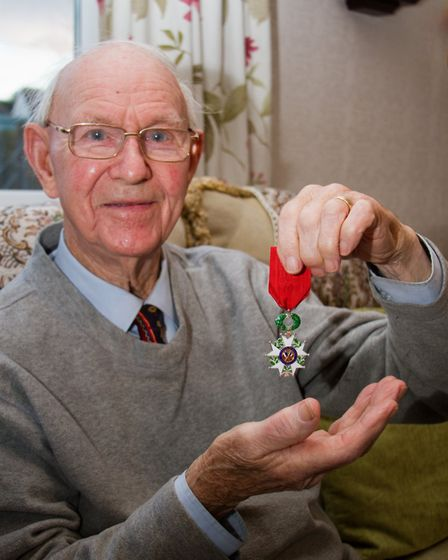 John Gardiner at home with his Legion D'Honneur award. Ref shs 48 17TI 4114. Picture: Terry Ife