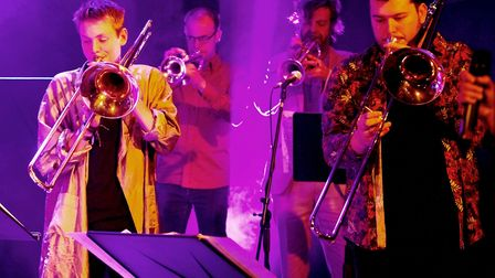 Sam Chamberlain-Keen (left) in action with the jazz orchestra. Picture: SUBMITTED
