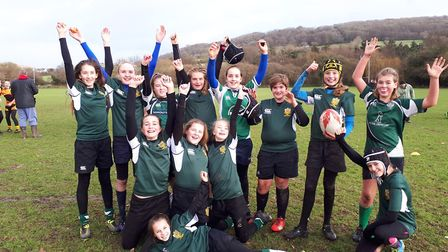 Sidmouth Under-13 girls before their latest action which saw them defeat Crediton.
