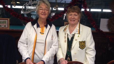 Sidmouth ladies captain Mary (left) together with Devon County president Leslie.