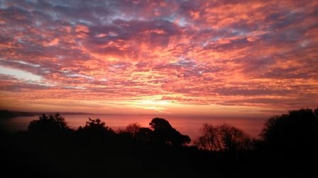 Beautiful Sunrise on Sunday 19th Nov 2017 in Lyme Bay. Picture: Nic Gray