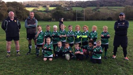 Sidmouth Under-7s who impressed in matches against Cullompton at Sidford playing fields.