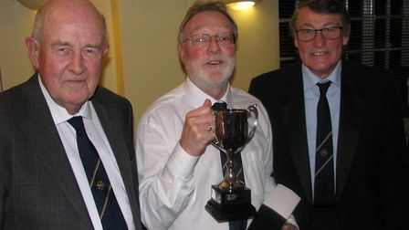Ottery St Mary club champion Steve Hall flanked by president Gerry Beighton and Ottery men's captain