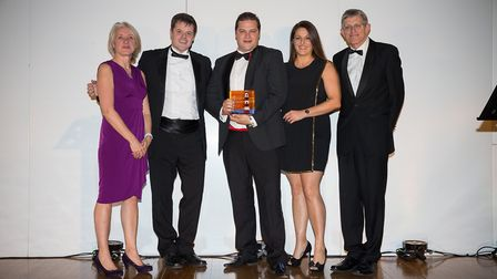 The Franks family collecting their gong at the Visit Devon awards