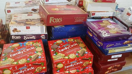 Sid Valley Food Bank delivered hampers full of mince pies, crackers, presents and all sorts of Chris