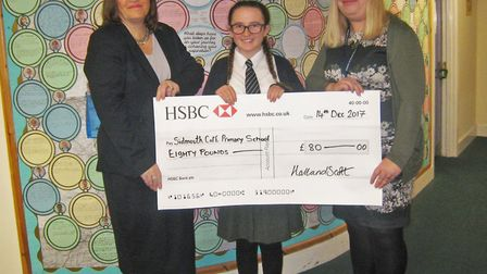 Head Teacher Claire Fegan, pictured here with Julia Turner from Hall & Scott and Annabelle, was also