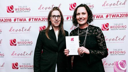 Victoria Churchill-Matthews and Tracy Kensdale were thrilled to pick up an award at the Wedding Indu