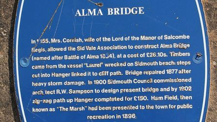 The Historic Sidmouth blue plaque at Alma Bridge in Sidmouth. Photo by Simon Horn. Ref shs 4258-35-1