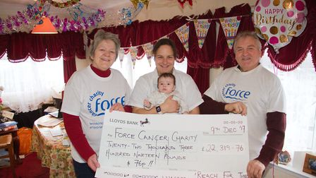 John Hounsell,Ruth Burrow and Carol Hounsell with their Force sky diving team cheque. Ref sho 01 18T