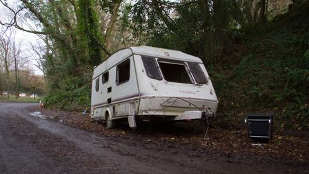 Dumped caravan in a layby in Sidmouth. Ref shs 50 17TI 5068. Picture: Terry Ife