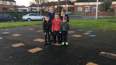 Back row: Lilly Lee, 9, and Alfie Harvey,8. Front row: Eithan Lee,6, Poppy Harvey, 5, and Brody Bray