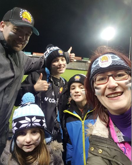 Family time at Sandy Park watching the mighty Exeter Chiefs win against Leicester Tigers. Picture: M