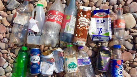 Litter from the Surfers against Sewage beach clean in Sidmouth