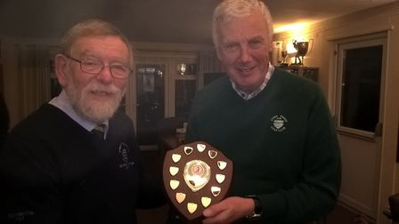 Sidmouth captain Dave Bruce with Axe Cliff captain Dave Bruce at the conclusion of the 2017/18 Winte