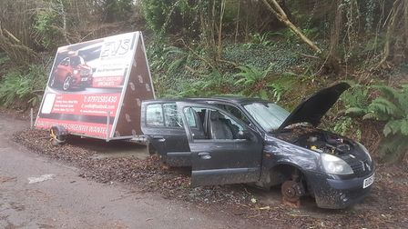 A Renault Clio that was dumped in a Sidmouth layby has been trashed