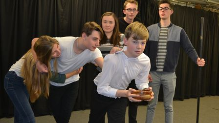 Sidmouth Youth Theatre rehearsing for their production of Oliver!