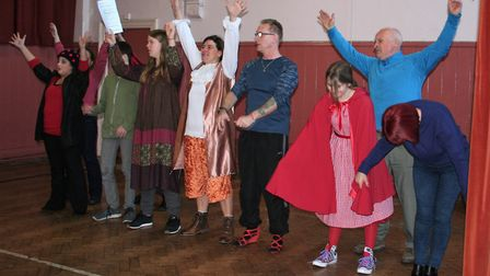 Members of Ottery Community Theatre in rehearsal for Jack and the Half-Baked Beanstalk. Picture: Con