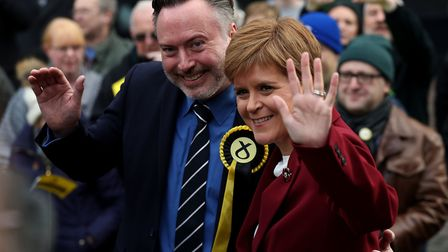 SNP leader Nicola Sturgeon joins Alyn Smith, the SNP's candidate for Stirling, on the general electi
