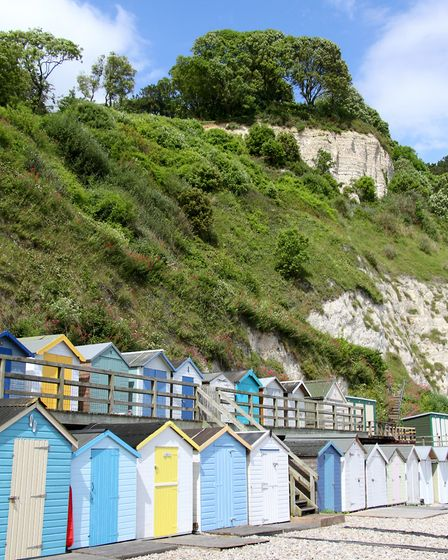 Annis' Knob visible above the beach huts at Beer. Ref shb 26-16AW 1134. Picture: Alex Walton