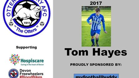 The Ottery St Mary Player of the Month for December Tom Hayes