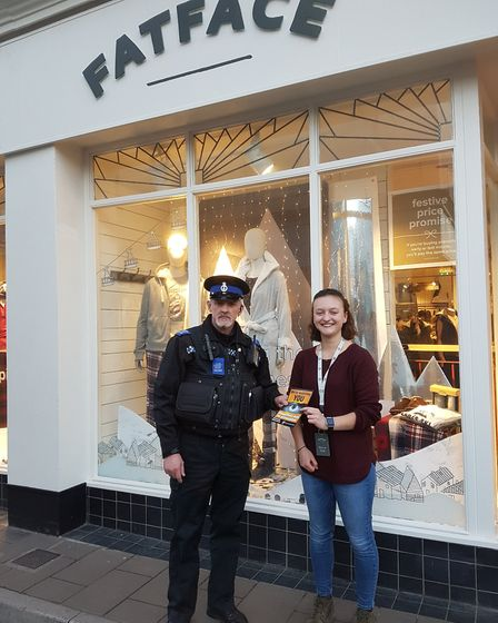 PSCO Steve Blanchford-Cox and Sophie James from Fat Face, which has signed up to the Shop Watch sche