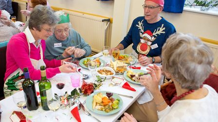 Diners tuck in at Sidmouth's annual Christmas lunch. Credit: Sarah Aires