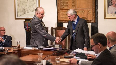 Sidmouth Town Council chairman Councillor Ian McKenzie-Edwards with his vice chairman, Cllr John Dys