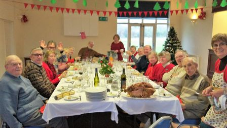 Residents attended a free Christmas Day lunch at Newton Poppleford pavilion, organised by David and