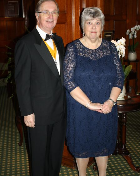 John and Dianne Kinch at the Rotary Club of Sidmouth's 80th president's night dinner.