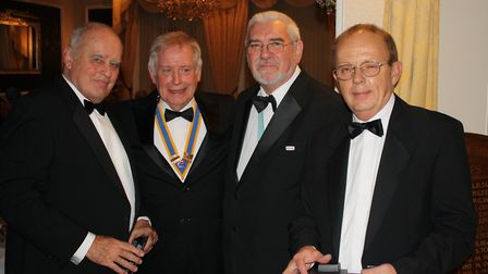 John Summerside, Stephen Gunnell, George Eamer and Adrian Ford at the Rotary Club of Sidmouth's 80th