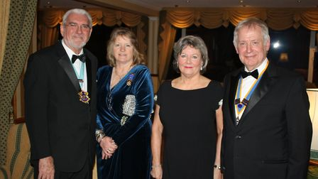 George Eamer with Stephen and Catherine Gunnell at the Rotary Club of Sidmouth's 80th president's ni