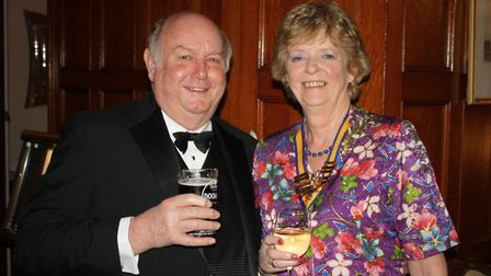 Chris and Jenny Brewer at the Rotary Club of Sidmouth's 80th president's night dinner.