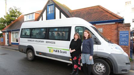 Julia Turner, who manages Hall and Scott's Sidmouth branch, with Sidmouth Voluntary Services manager