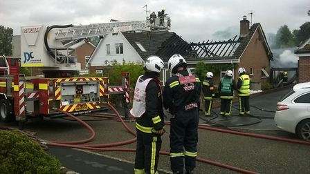 Firefighters on scene at Little Down Orchard, Newton Poppleford