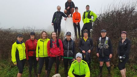 Sidmouth Running Club members on thre Four Trigs training run