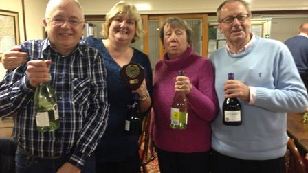 The winners of the Sidmouth Bowls Club quiz (left to right) Chris and Chrissie Leedham and Jim and R