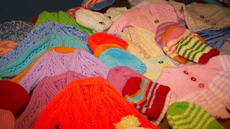 Some of the knitted donations for the Uganda project. Ref shs 04 18TI 6989. Picture: Terry Ife