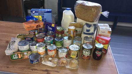 An example of the food that goes into a weekly package from the Sid Valley Food Bank