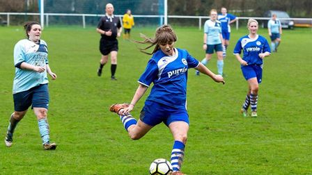Action from the Ottery St Mary ladies win over Keyham Kolts. Picture by ANTHONY ROWE