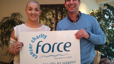 Stacey Thomson with Oly Watts, from the Force fundraising team after her successful head shave.