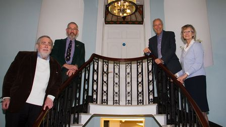 Dr Michael James,Ralph Cox,Des Oxley and Nikki Dawkins at Kemmaway House. Ref shs 06 18TI 7233. Pict