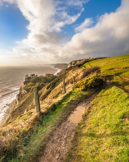 The Jurassic Coast cliff path between Beer and Branscombe taken between the showers on a windy Decem